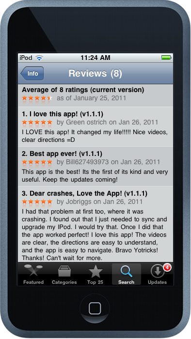 Postive Reviews for the YoTricks App