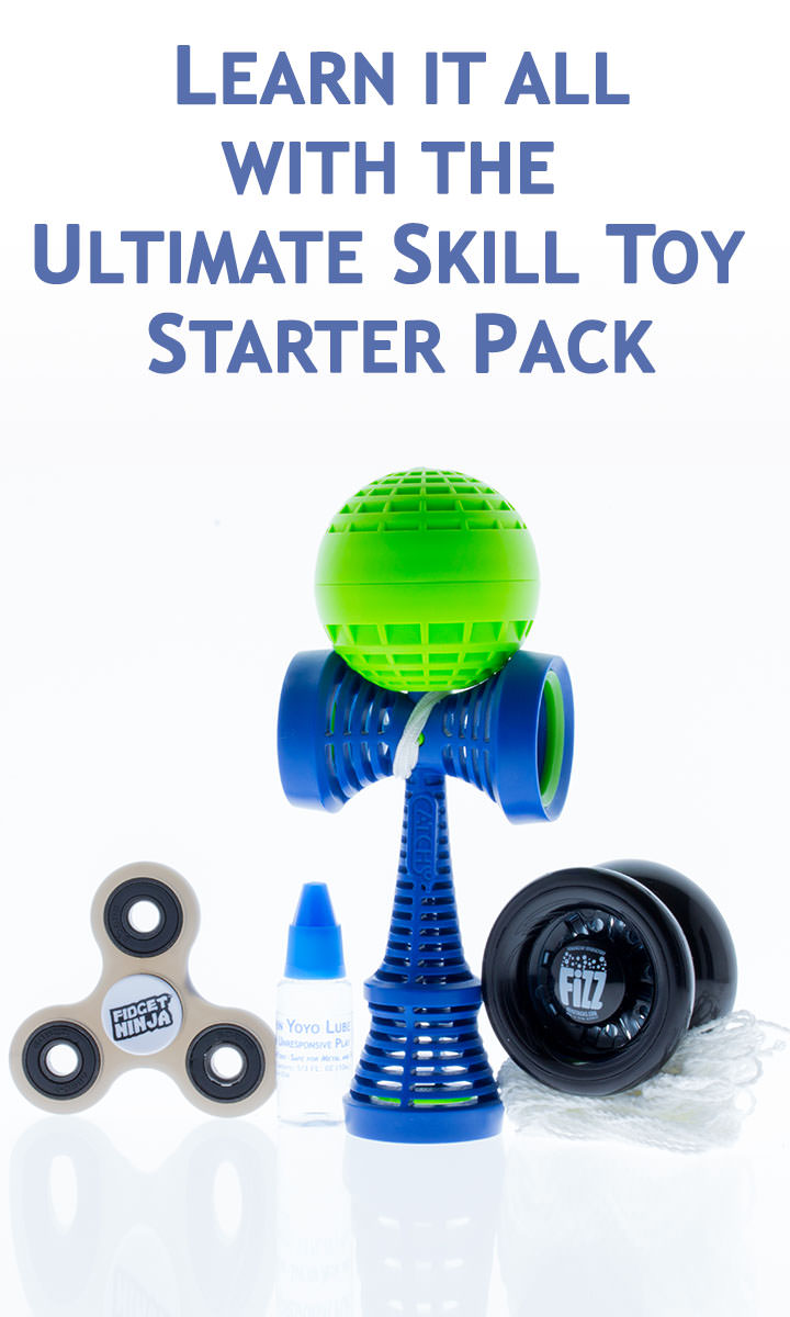 Learn all of the skills with the ultimate skills toy pack with a fidget spinner, yoyo, and kendama.