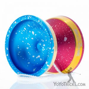 edge yoyo half blue half red gold rims
