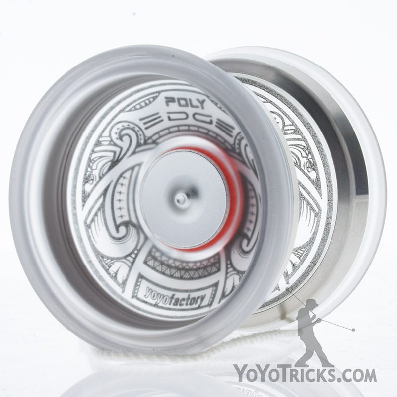 poly edge yoyo clear silver ring