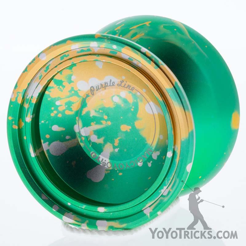 green yellow silver splash purple line yoyo magic yoyo