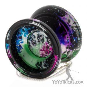 Black-with-Rainbow-Splash-Y-O3-Hertz-Magic-Yoyo